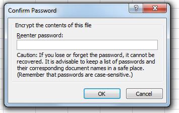 steps for encrypting Excel worksheet