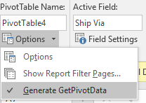 Pivot Table- GETPIVOT 2